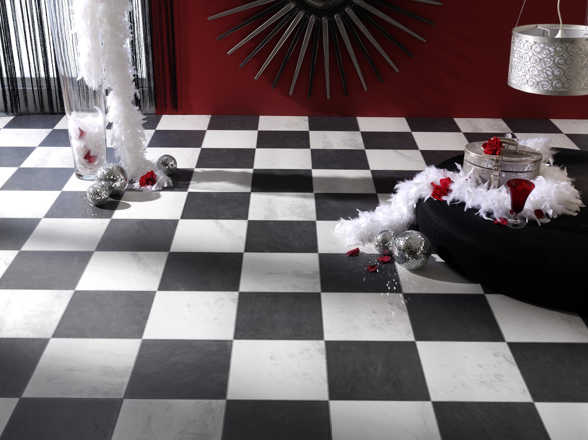 Faus laminaat tegels Chess Black 621989 zwart wit geblokt   Vloerenplanet